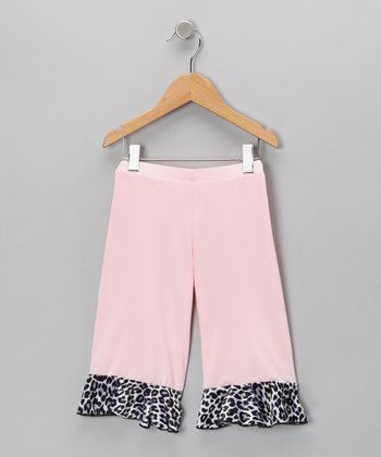 Pink Leopard Velvet Ruffle Capri Pants - Toddler & Girls