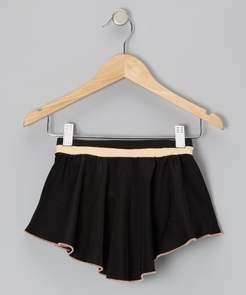 Black & Light Peach Pull-On Skirt - Girls