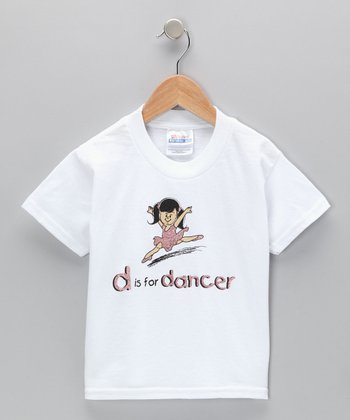 White 'D Is for Dancer' Tee - Toddler & Girls