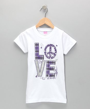 White Plaid 'Love' Tee - Girls & Women