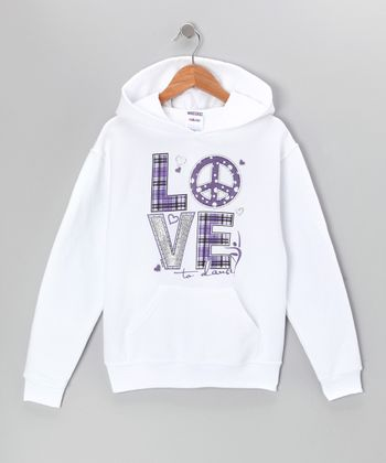 White Plaid 'Love' Hoodie - Girls & Women