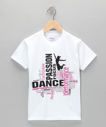 White 'Dance' Collage Tee - Girls & Women