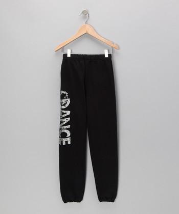 Black 'Dance' Foil Sweatpants - Girls & Women