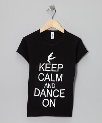 Dance World Bazaar Black 'Keep Calm and Dance' Tee - Girls & Women
