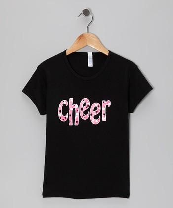 Black 'Cheer' Tee - Girls & Women