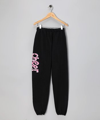 Black 'Cheer' Sweatpants - Girls & Women