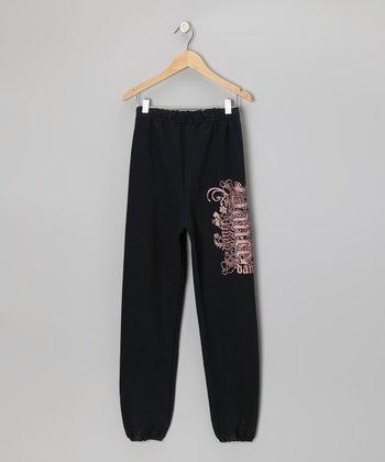 Black Glitter Gothic 'Dance' Sweatpants - Girls & Women