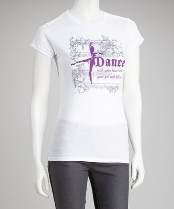 White 'Dance With Your Heart' Tee - Women
