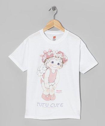 White Large 'Tutu Cute' Tee - Toddler & Girls