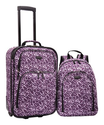 Purple Leopard Wheeled Carry-On & Backpack