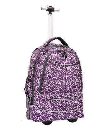 Purple Leopard Pacific Gear Horizon Rolling Laptop Backpack