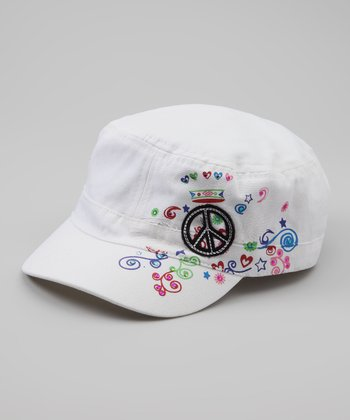 White Peace Rhinestone Newsboy Hat