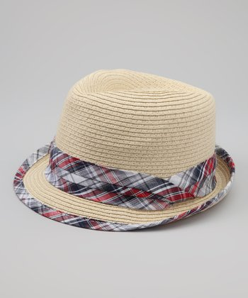 Natural & Black Plaid Straw Fedora