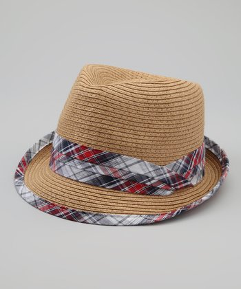 Tan & Blue Plaid Straw Fedora