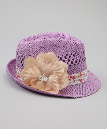 Purple Floral Straw Fedora