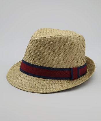 Red & Navy Straw Fedora