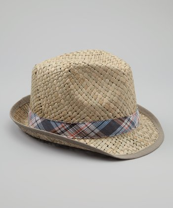 Blue & Tan Plaid Straw Fedora