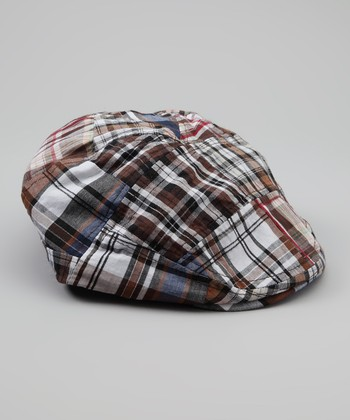 Brown Madras Newsboy Hat