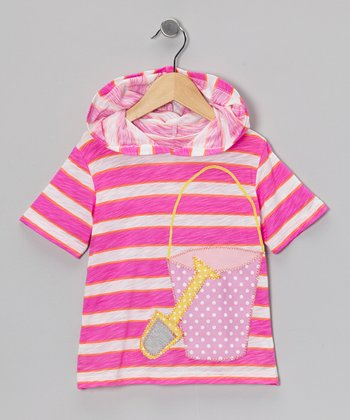 Pink Stripe Shovel & Pail Hooded Tee - Infant, Toddler & Girls