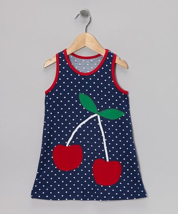Navy & Red Cherry Swing Dress - Infant, Toddler & Girls