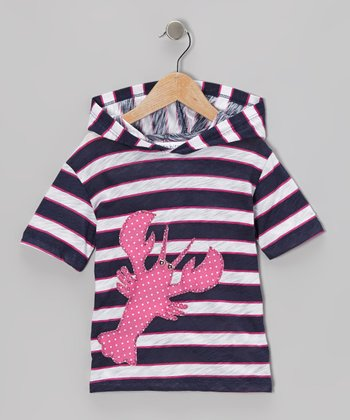 little bits Navy & Fuchsia Lobster Hooded Tee - Infant