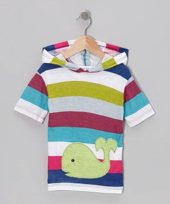 Lime & Pink Stripe Whale Hooded Tee - Infant & Girls