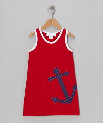 little bits Red & Navy Anchor Swing Dress - Toddler
