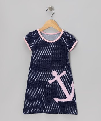 little bits Navy & Pink Anchor Swing Dress - Infant, Toddler & Girls