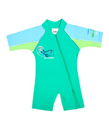 Turquoise One-Piece Rashguard - Infant, Toddler & Kids