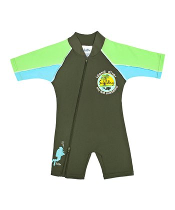 Green 'Island Diver' One-Piece Rashguard - Infant, Toddler & Boys