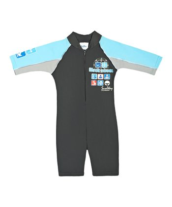 Light Blue 'First Races' One-Piece Rashguard - Infant & Boys