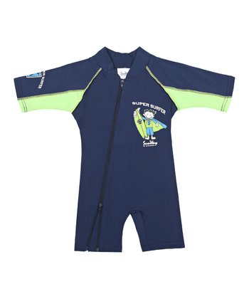 Navy 'Super Surfer' One-Piece Rashguard - Infant, Toddler & Boys
