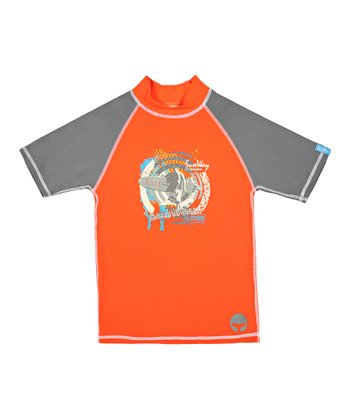 Orange & Gray 'Surf' Rashguard - Toddler & Boys