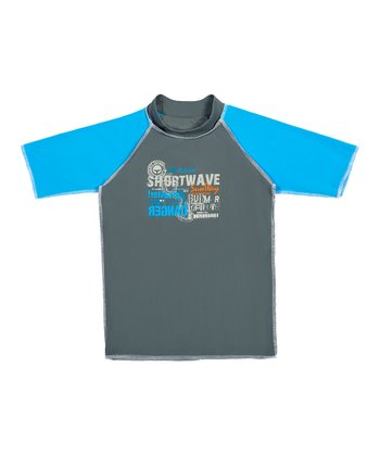 Gray & Blue 'Shortwave' Rashguard - Toddler & Boys