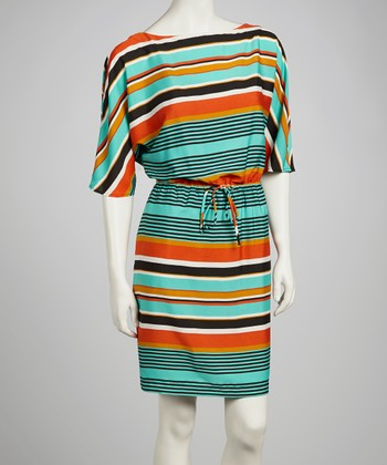 Green & Orange Stripe Dress