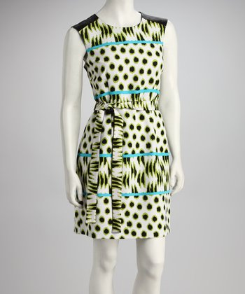 Green Dot Belted Sleeveless Dress