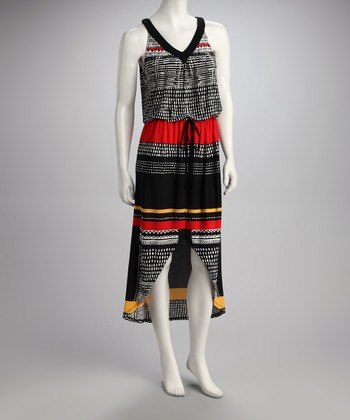 Red & Black Stripe Hi-Low Dress