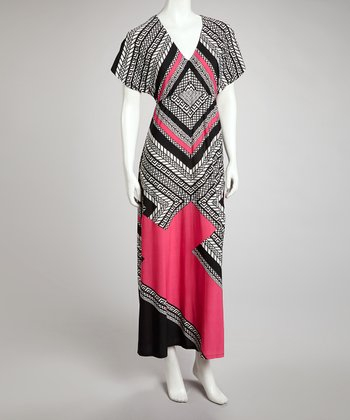 Fuchsia & Black Geometric Cape-Sleeve Maxi Dress