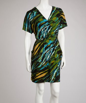 Blue & Green Abstract Surplice Dress