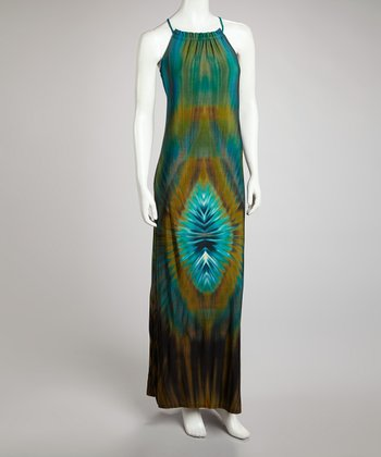 Green & Blue Tie-Dye Maxi Dress