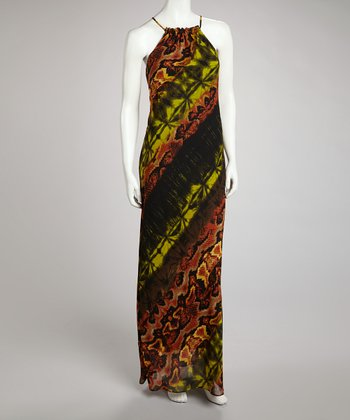 Brown & Green Snakeskin Maxi Dress