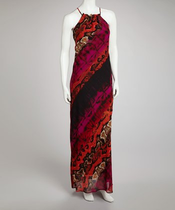 Red & Fuchsia Snakeskin Maxi Dress