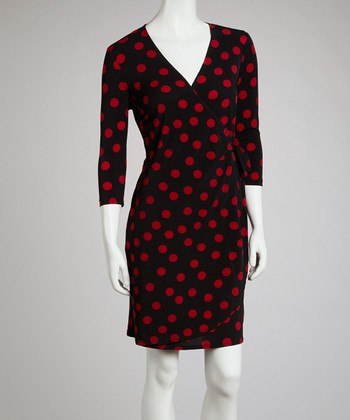 Red & Black Polka Dot Wrap Dress