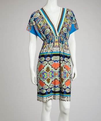 Blue & Green Paisley Cape-Sleeve Surplice Dress