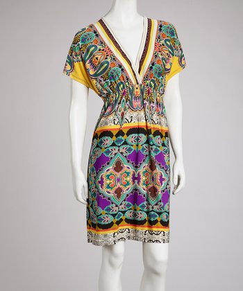 Yellow & Blue Paisley Cape-Sleeve Surplice Dress