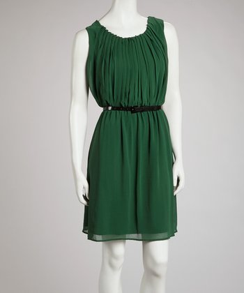 Hunter Green Pleated Belted Blouson Dress