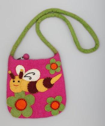 Fuchsia & Green Bee Wool-Blend Shoulder Bag