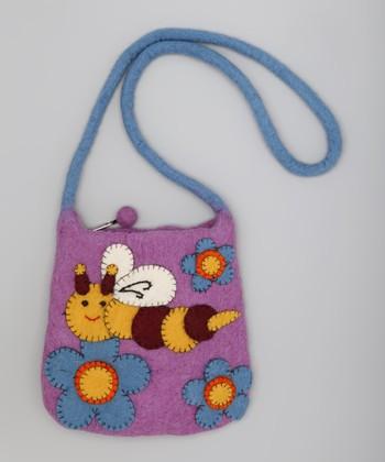 Purple & Blue Bee Wool-Blend Shoulder Bag