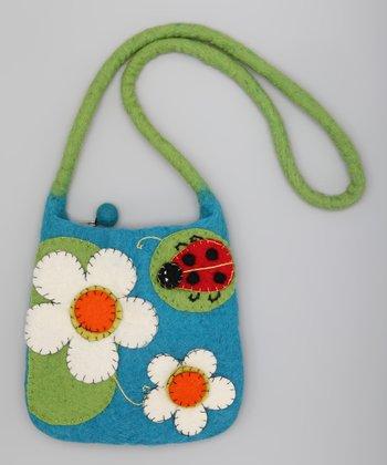 Turquoise & Green Ladybug Wool-Blend Shoulder Bag