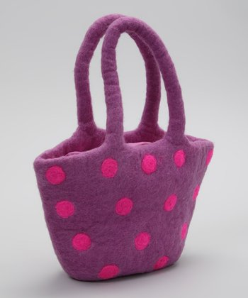 Purple & Pink Polka Dot Tote